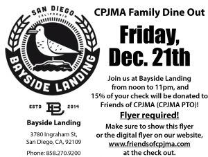 PTO Sponsored Family Dine Out - Bayside Landing @ Bayside Landing